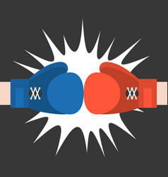 two boxing glove strike flat design vector image