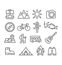 Camping line icons vector image