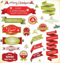 Christmas vintage labels set vector image