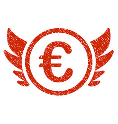 euro angel investment icon grunge watermark vector image