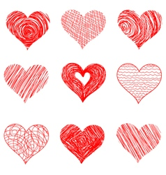 Hand drawn sketch hearts for Valentines Day design vector image