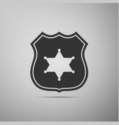 police badge flat icon on grey background vector image