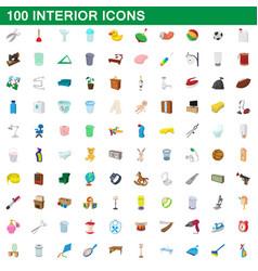 100 interior icons set cartoon style vector image