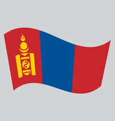 flag of mongolia waving on gray background vector image vector image