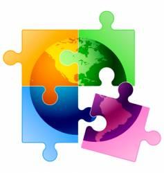 globe puzzle vector image vector image