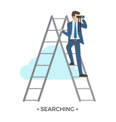 searching man and ladder vector image vector image