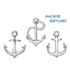 Sketches of old ship anchors with rope vector