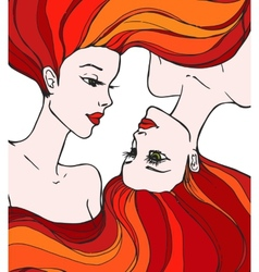 Two beautiful young women vector image vector image
