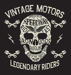 vintage motors emblem with skull vector image vector image