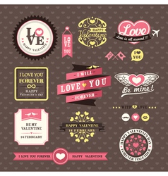 Wedding and Valentines day Elements frames Vintage vector image vector image