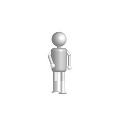 3d white people - man walking isolated background vector image