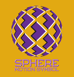 abstract logo purple emblem with moving arrows vector image