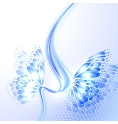 Abstract wave blue background with butterfly vector