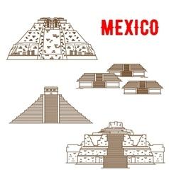 ancient maya and incas culture landmarks mexico vector image