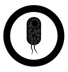 bacteria icon black color in circle vector image
