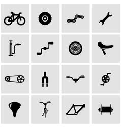 Black bicycle icon set vector