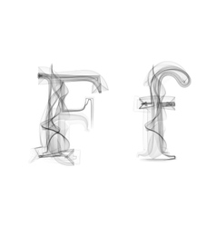Black smoke font letter f vector