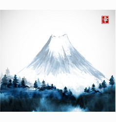 Blue forest trees and fujiyama mountain in fog vector