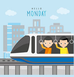 boy train station public sky railway city vector image