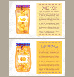 Canned oranges and peaches slices banners set vector