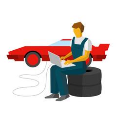 Car mechanic adjusts sportcar with laptop vector