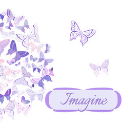 Card with butterflies arranged in semicircle vector