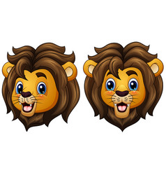 cartoon lion faces vector image