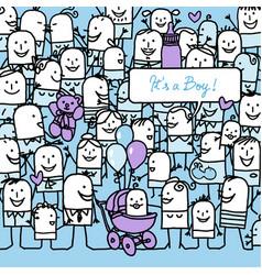 Cartoon people and new born baby boy card vector