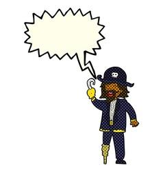 Cartoon pirate captain with speech bubble vector