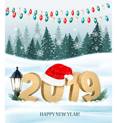christmas holiday background with 2019 and red vector image
