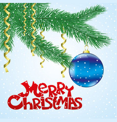 christmas with fir branches vector image
