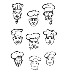 Collection of chefs in traditional toques vector