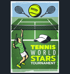 Colored vintage tennis championship poster vector