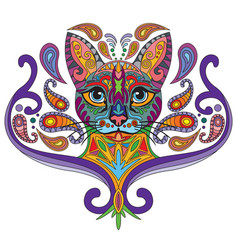 Colorful ornamental cat 2 vector