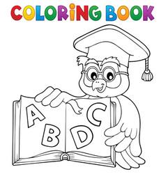coloring book owl teacher theme 4 vector image