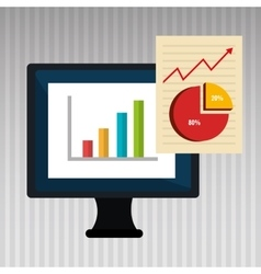 Computer business statistics isolated icon design vector