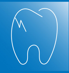 Cracked tooth flat line icon dental and medicine vector