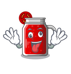 Crazy fresh tomato juice isolated on mascot vector