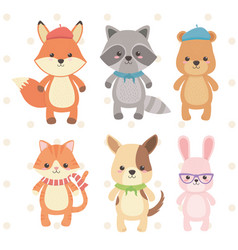 Cute and little animals group characters vector