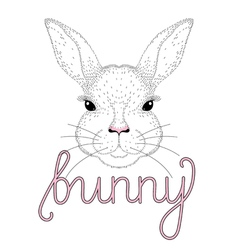 Cute bunny portrait Hand drawn for t-shirt print vector