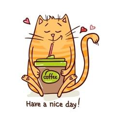 Cute cat coffee break 2 vector