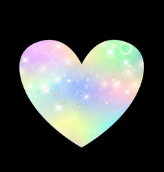 Cute universe heart icon in princess colors vector