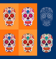 Day of the dead sugar skulls set mexican day of vector