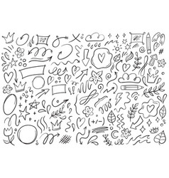 Decorative doodles hand drawn pointing arrow vector
