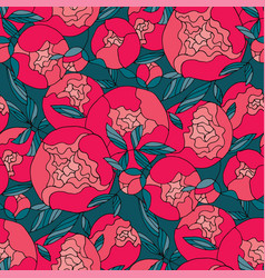 decorative peony bud floral seamless pattern vector image
