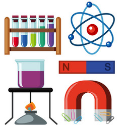 different science equipments on white background vector image