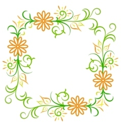 Doodle color abstract flower frame vector image
