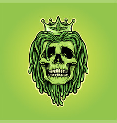 dreadlocks skull with weed crown mascot logo vector image