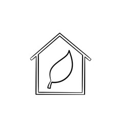Ecology friendly house with leaf hand drawn icon vector