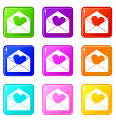envelope with valentine heart icons 9 set vector image